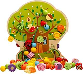 Homyl 102 Pieces Wooden Lacing Beads Animals Fruits Vegetables Shape Beads Set Threading Educational Toy with Tree Pattern...