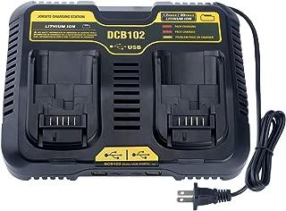 Lasica DCB102BP 20V Dual Port Charger for DEWALT 12/20-Volt MAX Jobsite Charging Station DCB102 DCB104 DCB118 DCB115 DCB107 Dewalt 20V/60V MAX Battery DCB205-2 DCB206-2 DCB204 DCB203 DCB606-2 DCB609-2