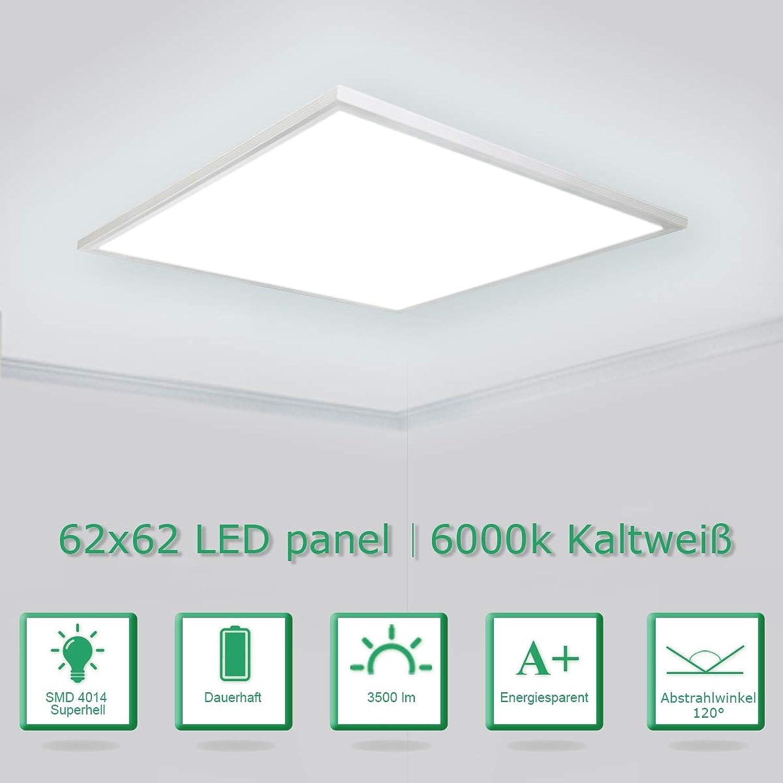 [PRO High Lumen]OUBO LED Panel 62x62cm Kaltwei   36W   5000lm   6000K   Weirahmen Lampe dünn SLIM Ultraslim Deckenleuchte Pendelleuchte Wandleuchte Einbauleuchten
