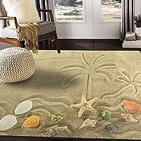 海の島とヤシの木のヒトデが砂地に描かれていますリビングルームのラグラグ80x58インチ