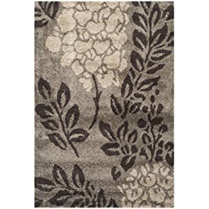 Safavieh Florida Shag Collection SG456 Floral 1.2-inch Thick Area Rug, 8′ x 10′, Smoke / Dark Brown
