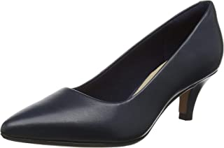 Clarks Linvale Jerica Navy Leather Womens Slip On Kitten Heel Court Shoes