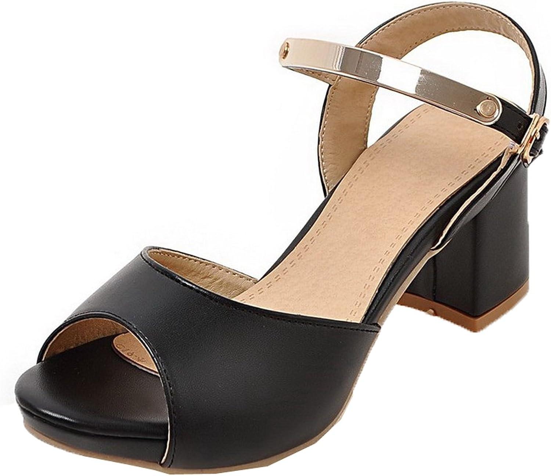 WeenFashion Women's Open Toe Buckle PU Solid Kitten-Heels Sandals
