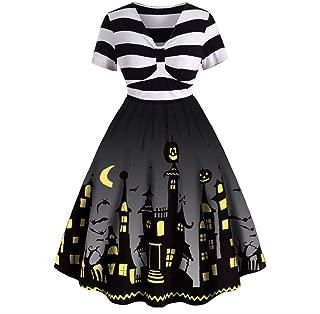 iLOOSKR Halloween Novelty Dress Women Short Sleeve V Neck Vintage Housewife Print Knotted V Back Dress