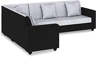 Furny Cosmos Fabric 6 Seater L Shape Sofa - 3 Seater + 2 Seater + 1 Corner Sofa (Grey-Black)