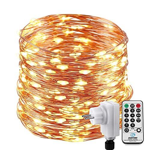 NEXVIN 22M 200 LED Lichterkette Außen WarmWeiß, Wasserdicht Kupferdraht Lichterkette Weihnachtsbeleuchtung mit Fernbedienung Timer 8 Modi für Zimmer Innen Außen Weihnachtsbaum Deko