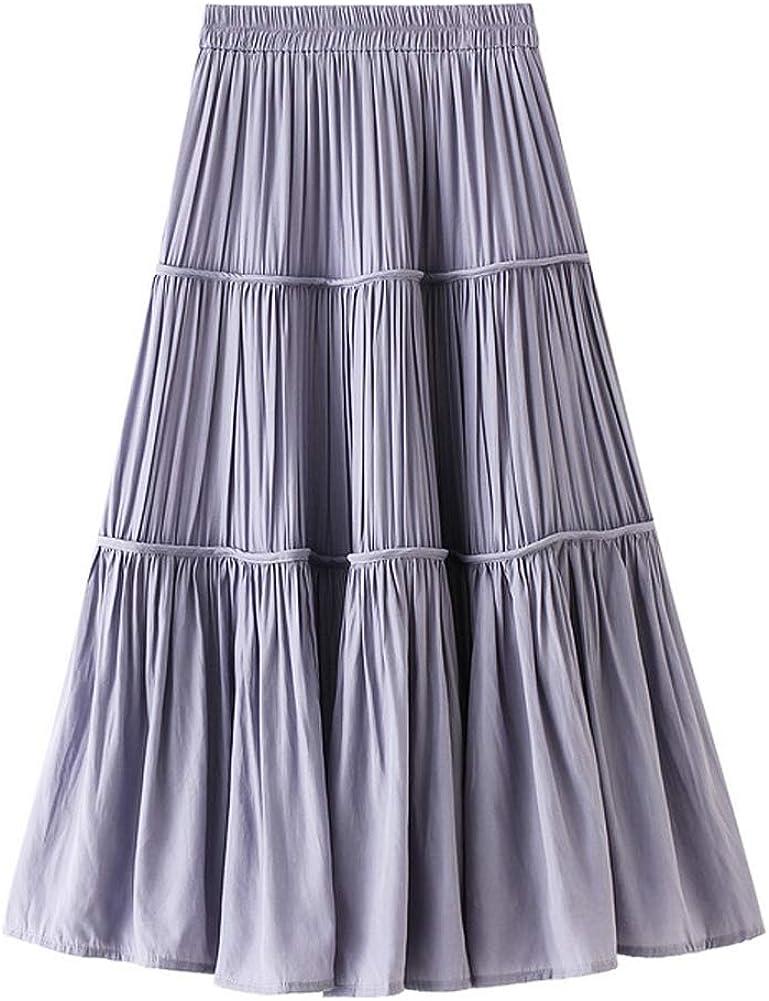 Women Casual Fashion Vintage Gray Pleated Midi Skirt with Elastic Waist