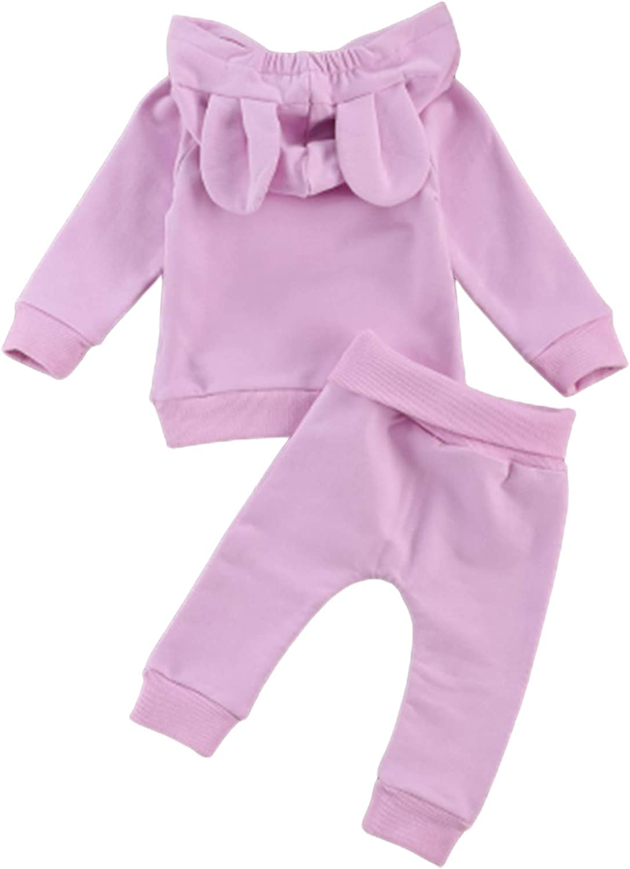 Neugeborenes Baby M/ädchen Babykleidung Set Leopard Kapuzenpullover Hoodie Top and Hosen Warm Bekleidungsset Herbst und Winter