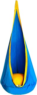 OUTREE Kids Pod Hanging Swing Seat Hammock,100% Cotton Child Swing Hammock Chair for Indoor and Outdoor use,Blue and Yellow