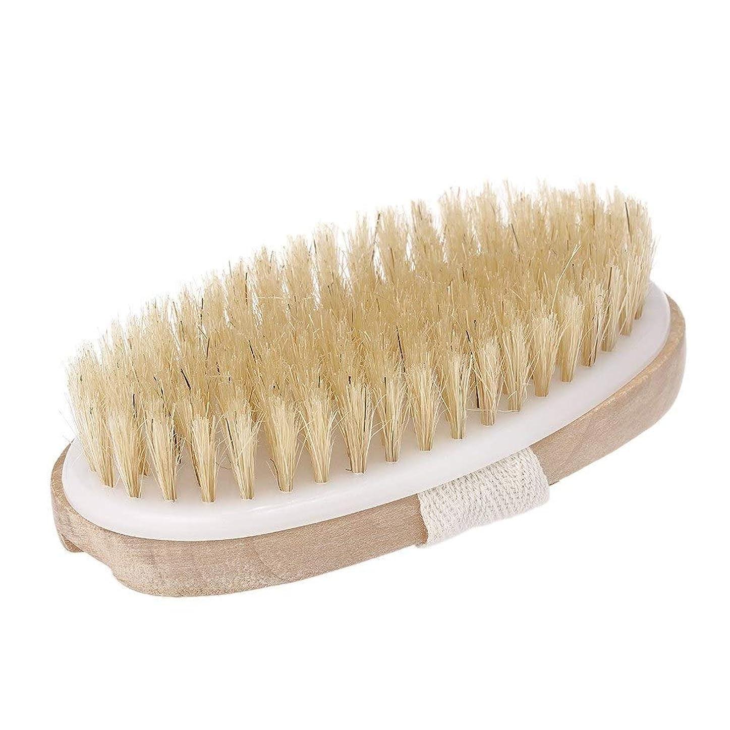 テセウス不機嫌適性ボディクリーニングブラシ ボディブラシ 乾燥肌ボディブラシ 木製 ハンドルベルト付 お風呂用 体洗いブラシ