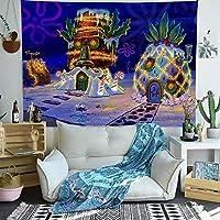 漫画パイナップルタペストリー水中世界アニメハウスアート壁掛けタペストリーリビングルームホーム寮の装飾180x180cm