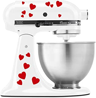 Hearts Bae Valentine Pattern - Vinyl Decal Set for Kitchen Mixers - Red