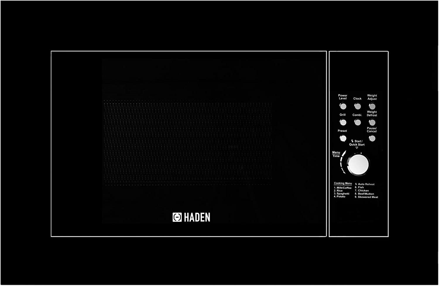 Haden Built-in Micro Grill Black Microwave and Grill Combo with Defrost 20 Litre Reheat /& Cooking Functions