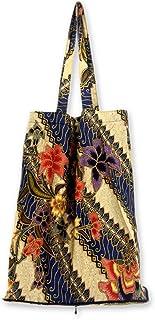 NOVICA Handmade Cotton Batik Colorful Floral Foldable Tote, Jogjakarta Legacy'
