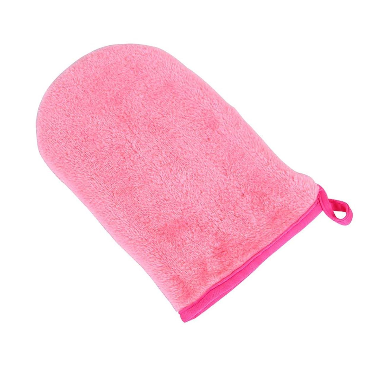 コンペすみません定期的HEALIFTY フェイシャルクリーニンググローブメークアップリムーバー手袋再利用可能なフェイシャルクロスパッド(ロージー)