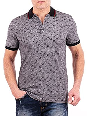 Gucci Polo Shirt, Mens Gray Short Sleeve Polo T- Shirt GG Print All Sizes (XL) from