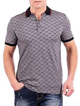 Gucci Polo Shirt Mens Gray Short Sleeve Polo T- Shirt GG Print All Sizes M