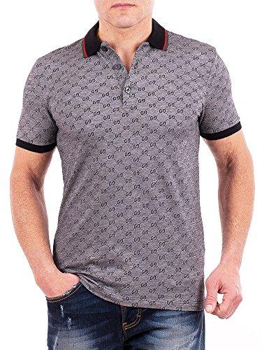 Gucci Polo Shirt, Mens Gray Short Sleeve Polo T- Shirt GG Print All Sizes (XL)