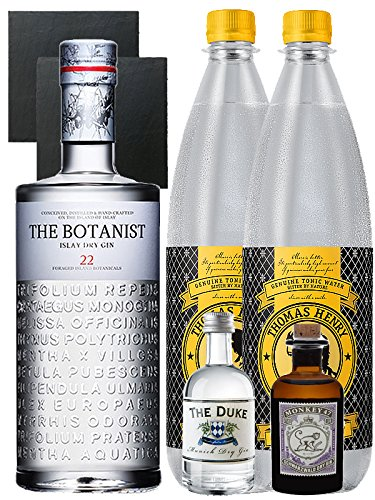 Gin-Set The Botanist Islay Dry Gin 0,7 Liter + The Duke München Dry Gin 5 cl + Monkey 47 Schwarzwald Dry Gin 5 cl MINIATUR + 2 x Thomas Henry Tonic Water 1,0 Liter + 2 Schieferuntersetzer quadratisch 9,5 cm