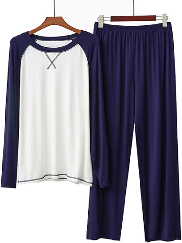 Men'S Pajama Set Long Sleeve Sleepwear For Men Navy L