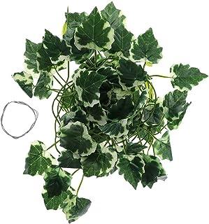 Lazder Caja de reptiles lagartos terrario artificial decoración de vid lagartija plantas falsas hojas verdes