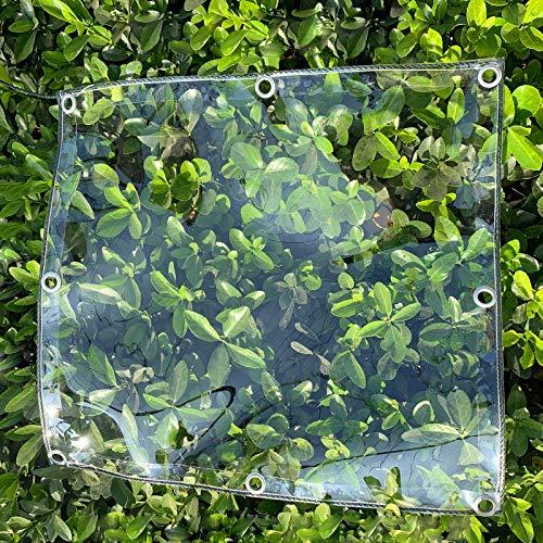 WJN Tarp Transparent Waterproof Tarp w/Grommet, Exterior PVC Clear Tarpaulin, Heavy Duty Patio Pergola Greenhouse Pool Cover, 400g/650g(Color:0.5mm,Size:1.8×3m)