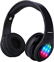 LOBKIN Bluetooth Headphones, Stereo Music LED Light Up Foldable Wireless Headphones Over Ear HiFi headsets with TF Crad Slot, Mic and FM for All Bluetooth Enabled Devices (BLACKLED)