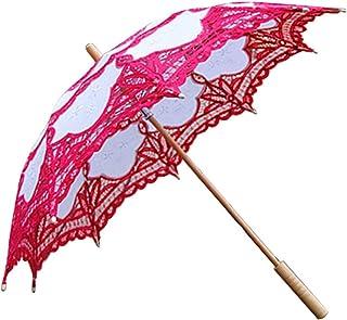 方朝日スポーツ用品店 手作りレース日UVパラソルプリンセススタイル傘3Dフラワー刺繍傘ウェディングデコレーションホワイト+ピンク (Color : Red+white)