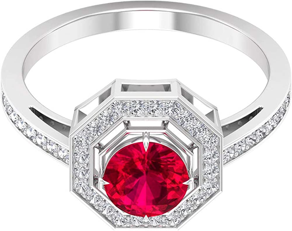1.05 Fresno Mall Ct SGL Certified Financial sales sale Ruby Gold 0.25 Diamond Ring Antique Ha