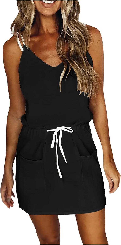 ONHUON Dresses for Wedding Guest Women Plus Size,Women's Summer Sleeveless Loose Plain Maxi Dresses Casual Vest Long Dress Sundress for Lady