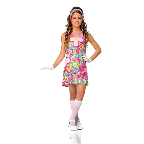 9b1afa5c7b Kids Girls Costume 60s 70s Groovy Girl Dress Outfit M Girls Medium (US size  8