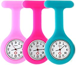 Set of 3 Nurse Watch Brooch, Silicone with Pin/Clip, Infection Control Design, Health Care Nurse Doctor Paramedic Medical Brooch Fob Watch - Pink Rose Blue