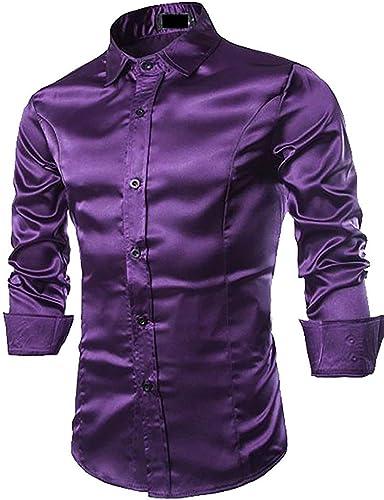Hommes Shirt Home Chemise habillée boutonnée à Manches Longues en Soie pour Homme (Couleur   violet, Taille   Medium)