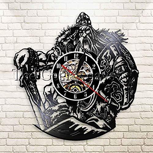 AGGG con Led mitología nórdica Espada vikinga y Reloj de Pared con iluminación Led Zeus mitología Griega Antigua Reloj de Registro retroiluminado de Vinilo 3D