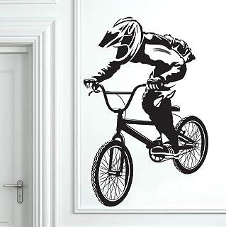 keletop Excitant Saut De V/élo Cycliste BMX Freestyle Saut Extreme Sports Stickers Muraux Adh/ésifs Enfants Chambre D/écor P/épini/ère Murales 53x114cm