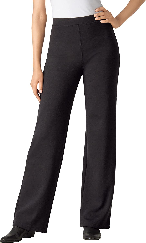 Woman Within Women's Plus Size Tall Wide Leg Ponte Knit Pant