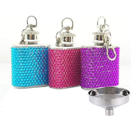 Amazon Com Flask Rhinestones Liquor Hip Flask Womens Mini 304 Stainless Steel With Funnel 3 Pack Flasks