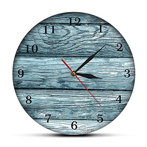 NIGU Día del miembro regalos para las mujeres pintura decorativa viejo granero reloj de pared silencioso no hace tictac, madera rústica, reloj de pare
