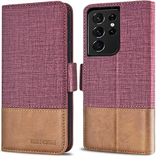 KEZiHOME Handyhülle für Galaxy S21 Ultra, Samsung S21 Ultra Hülle [RFID Schützt] [Kartenfächer] [Stand] PU Leder Magnet Stoßfeste Schutzhülle Kompatibel mit Galaxy S21 Ultra (6,8) (Weinrot/Braun)