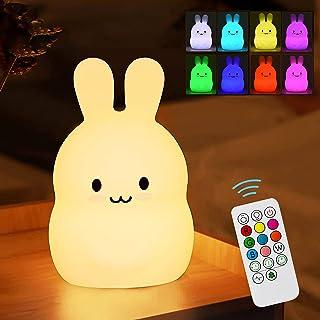 solawill Veilleuse Enfant ,Veilleuse Lapin Bébé rechargeable par USB avec Contrôle Tactile Télécommande LED Lampe en Migno...