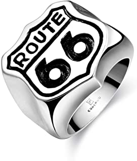 Route 66 Ancient Maya Stainless Steel Punk Ring for Men
