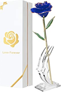 Childom Mom Gift 24K Blue Gold Dipped Rose Made from Real Rose Flower with Stand, Great Women Gifts for Birthday, Mothers Gift, Birthday Gifts Women, Bday Gifts (Blue)
