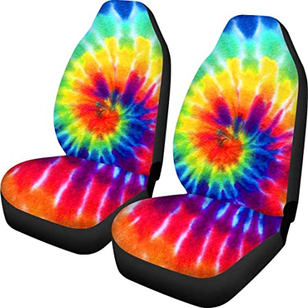 Abstract Swirl Tie Dye Rainbow Color Printing Universal Fit Most Vehicles PZZ BEACH Soft /& Comfortable Auto Armrest Cushion Protector Cover