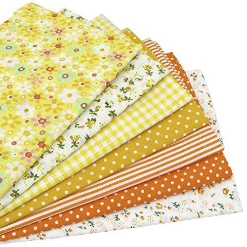 7 Stück 49cm * 49cm Gelb Baumwollstoff,patchwork stoffe,baumwollstoff meterware,stoffe patchwork stoffpaket