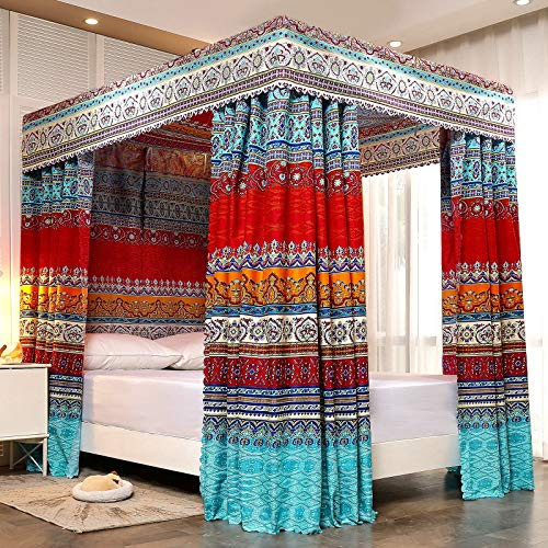 Pangzi Bohemian 4 Corner Post Bed Curtain Canopy Bed Curtain Drapes for Adults Girls (Queen, Style-A)