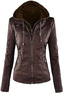 Howely Women Plus Size Faux Leather PU Hooded Zip Up Moto Biker Jacket