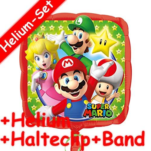 Folienballon Set * SUPER MARIO * + HELIUM FÜLLUNG + HALTE CLIP + BAND für Kindergeburtstag // Folien Ballon Helium Deko Ballongas Motto Peach Luigi Todd Mario