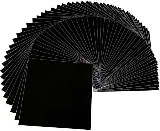 "Glossy Black Adhesive Vinyl Sheets – 50 Pack 12 ""x 12"" - By American Deluxe Vinyl Craft – Premium Glossy Self Adhesive Backed Vinyl Sheets - for Cricut, Silhouette Cameo and other Cutters"