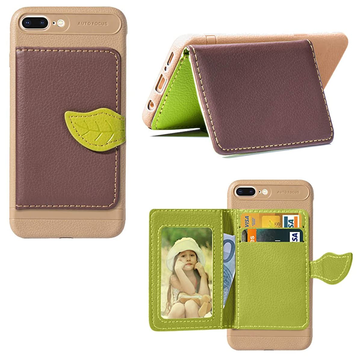 iPhone 7 Plus iPhone 8 Plus Case, PU Leather Wallet Case Flip Kickstand Function Ultra Folio Flip Slim Card Holder Case Cover Falling for iPhone 7 Plus iPhone 8 Plus (Brown)