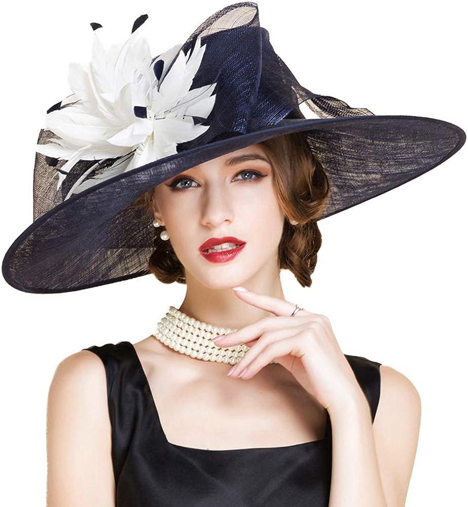 FADVES Large Brim Sinamay Hat Elegant Flower Feather Kentucky Derby Wedding Fascinator Summer Hats
